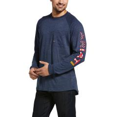 Men's Rebar Cotton Strong Graphic LS T-Shirt - Navy Heather