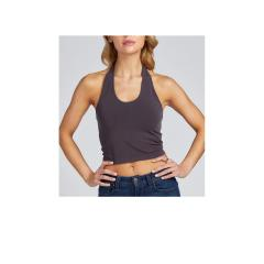 Cest Moi Women's Crop Halter Top